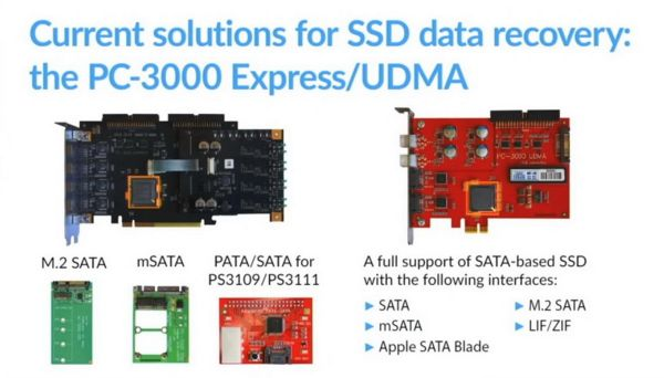 Currently, it is only possible to save data from a SATA SSD with the PC-3000 Express and PC-3000 UDMA